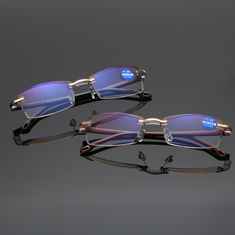 Rimless Anti Blue-ray Blue Film Lenses Presbyopic Glasses, +3.50D (Brown)