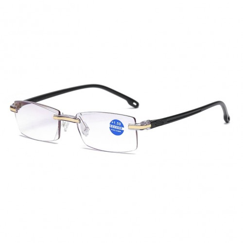 Rimless Anti Blue-ray Blue Film Lenses Presbyopic Glasses, +4.00D (Black)