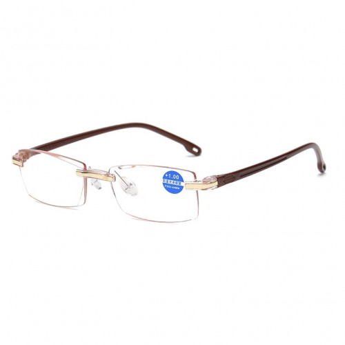 Rimless Anti Blue-ray Blue Film Lenses Presbyopic Glasses, +4.00D (Brown)