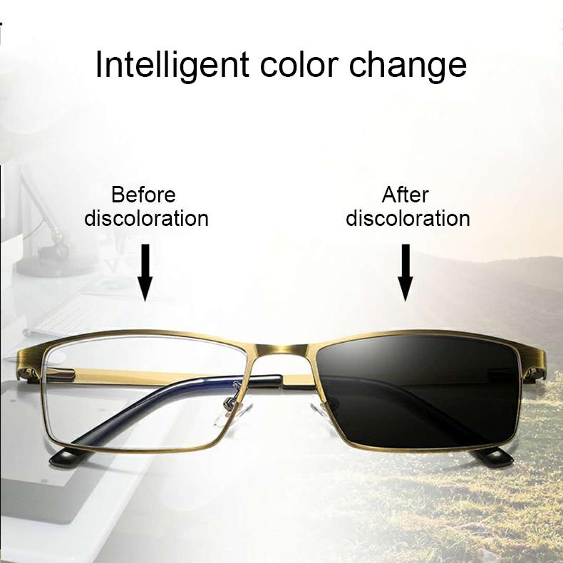 Dual-purpose Photochromic Presbyopic Glasses, +1.50D (Gold)