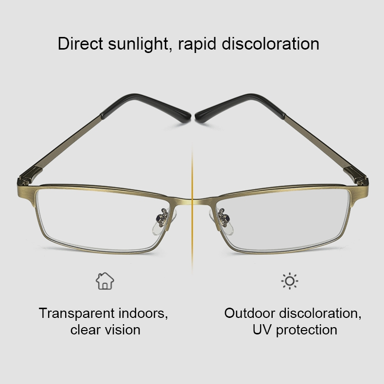 Dual-purpose Photochromic Presbyopic Glasses, +2.50D (Gold)