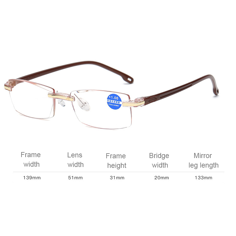 Rimless Anti Blue-ray Blue Film Lenses Presbyopic Glasses, +1.50D (Brown)