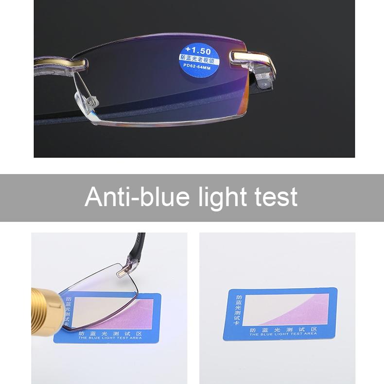 Rimless Anti Blue-ray Blue Film Lenses Presbyopic Glasses, +2.00D (Black)