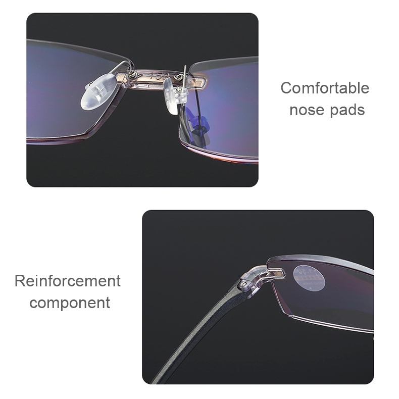Rimless Anti Blue-ray Blue Film Lenses Presbyopic Glasses, +3.00D (Brown)