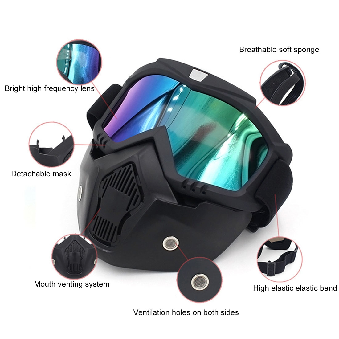 Motorcycle Off-road Helmet Mask Detachable Windproof Goggles Glasses (Colour)
