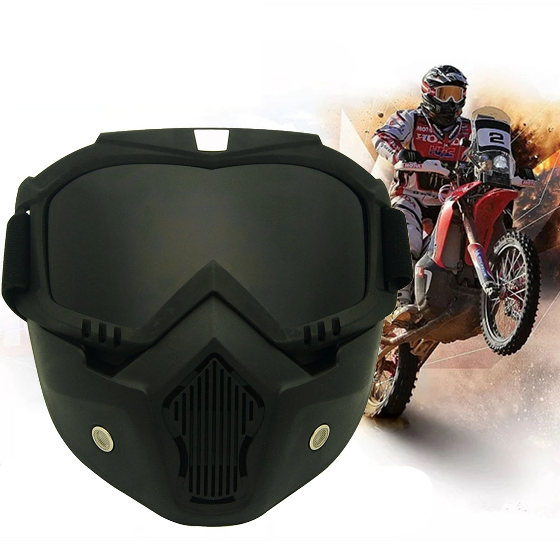 Motorcycle Off-road Helmet Mask Detachable Windproof Goggles Glasses (Grey)