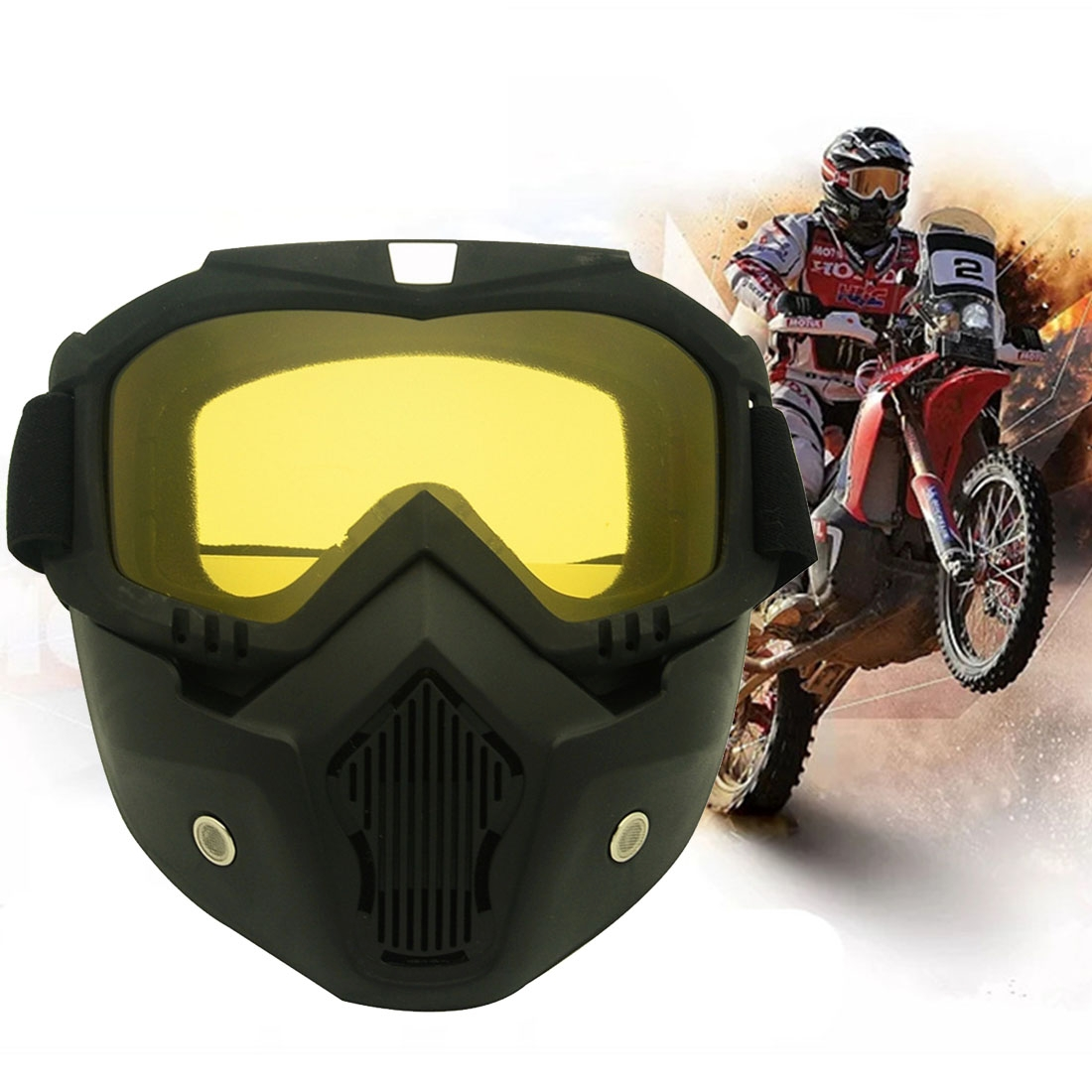 Motorcycle Off-road Helmet Mask Detachable Windproof Goggles Glasses (Yellow)