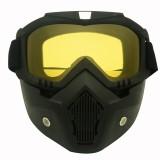 Motorcycle Off-road Helmet Mask Detachable Windproof Goggles Glasses (Yellow)