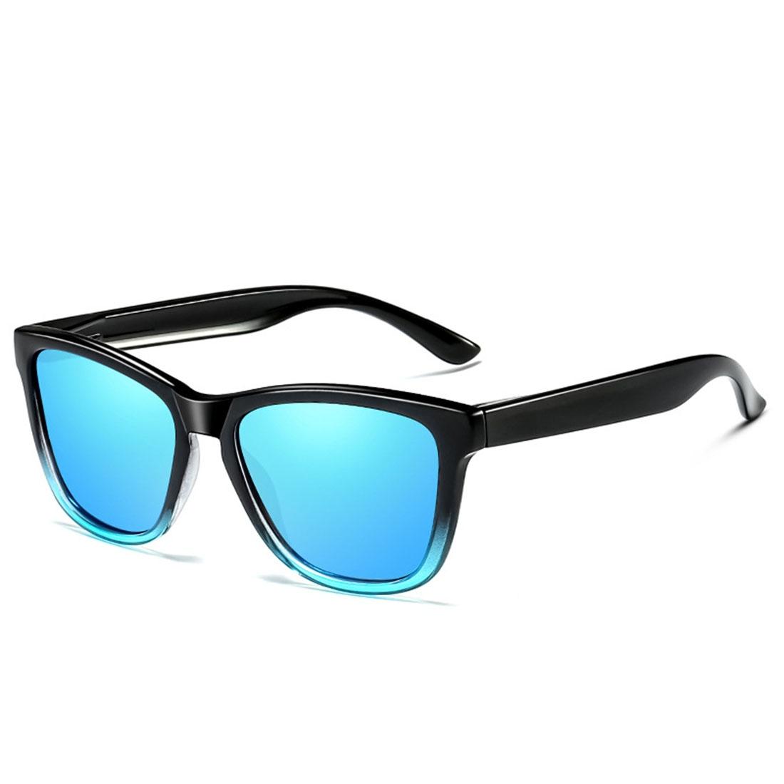 Unisex Retro Fashion Plastic Frame UV400 Polarized Sunglasses (Gradient Black + Blue)