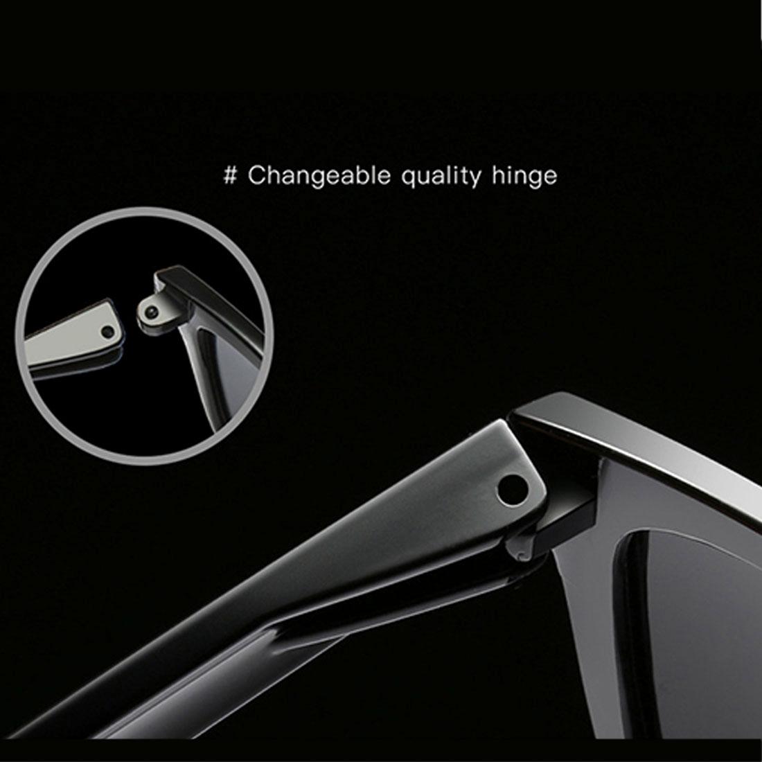 Unisex Retro Fashion Plastic Frame UV400 Polarized Sunglasses (Black + Grey)
