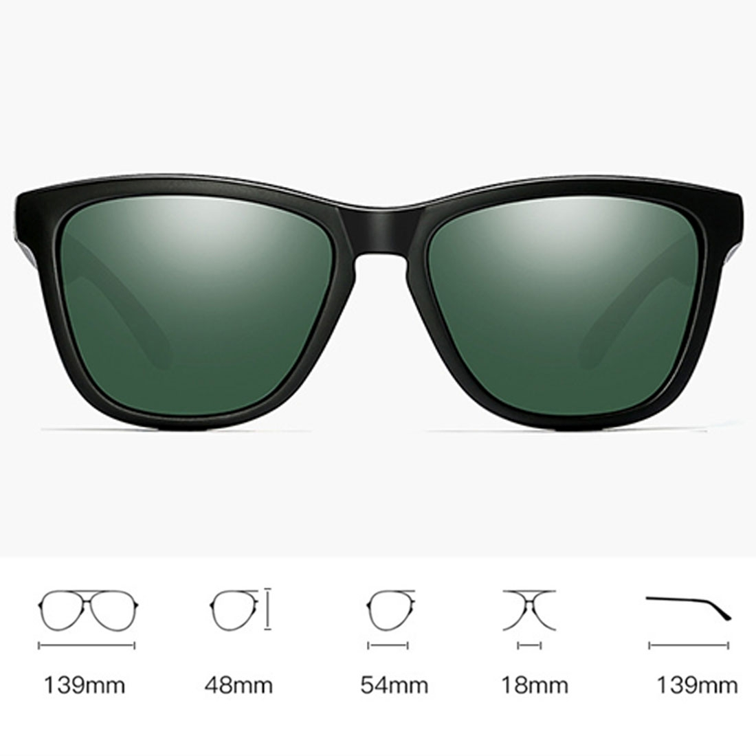 Unisex Retro Fashion Plastic Frame UV400 Polarized Sunglasses (Matte Black + G15 Green)