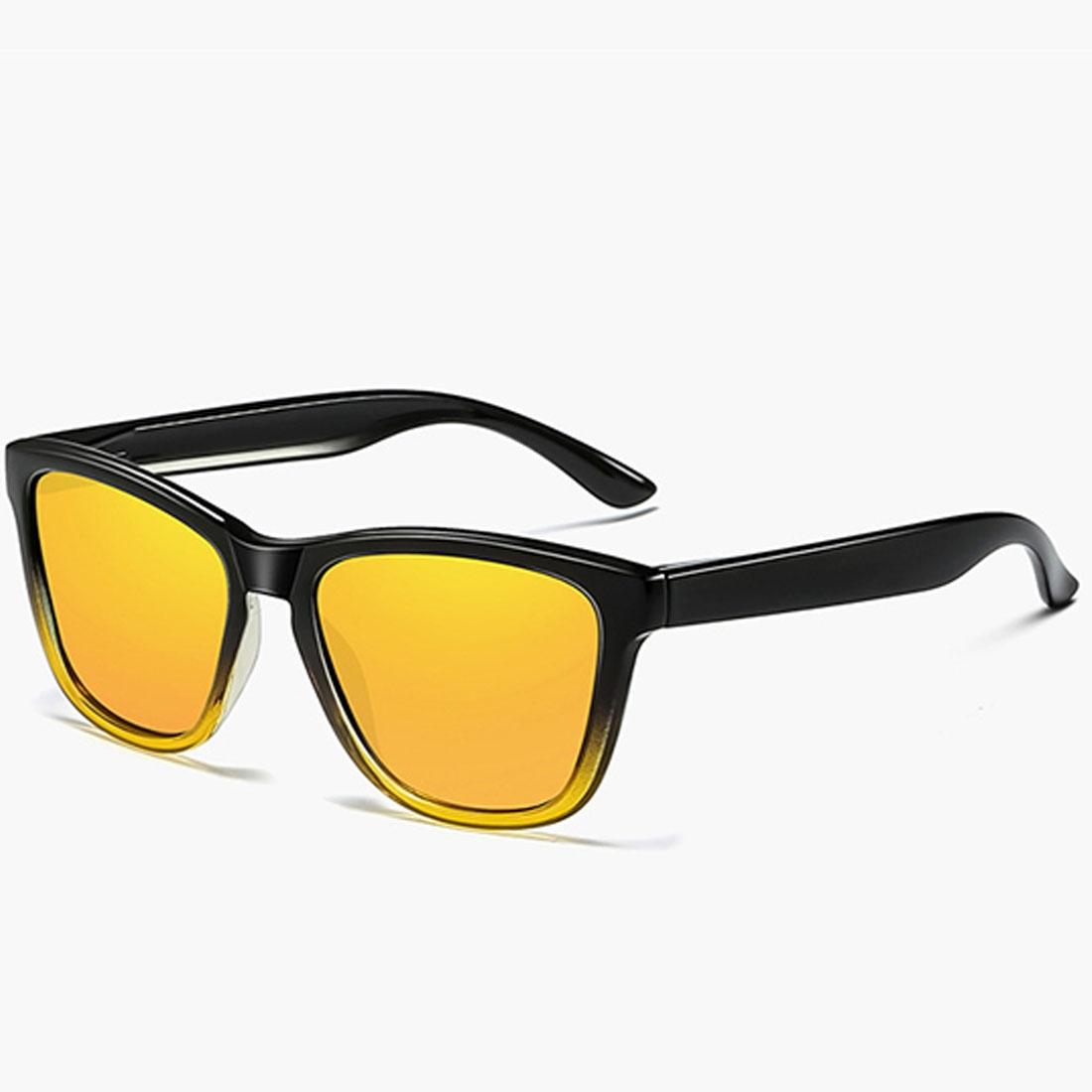 Unisex Retro Fashion Plastic Frame UV400 Polarized Sunglasses (Gradient Black + Yellow)
