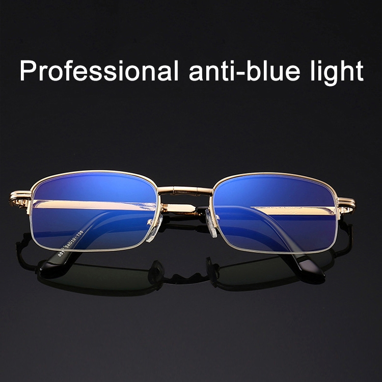Folding Anti Blue-ray Presbyopic Reading Glasses with Case & Cleaning Cloth, +1.00D (Gold)