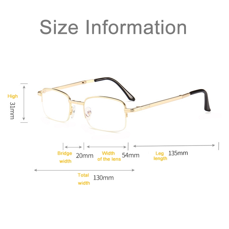 Folding Anti Blue-ray Presbyopic Reading Glasses with Case & Cleaning Cloth, +2.00D (Gold)