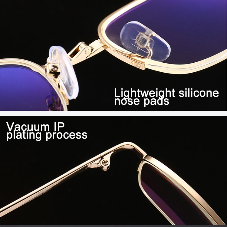 Folding Anti Blue-ray Presbyopic Reading Glasses with Case & Cleaning Cloth, +3.00D (Gold)