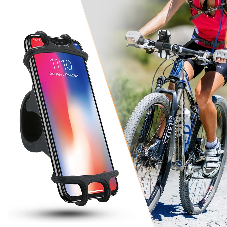 Floveme Universal Bicycle Mobile Phone Holder, Suitable for 4.0-6.3 inch Mobile Phones, For iPhone, Samsung, Huawei, Xiaomi, Lenovo, Sony, HTC and Other Smartphones (Black)