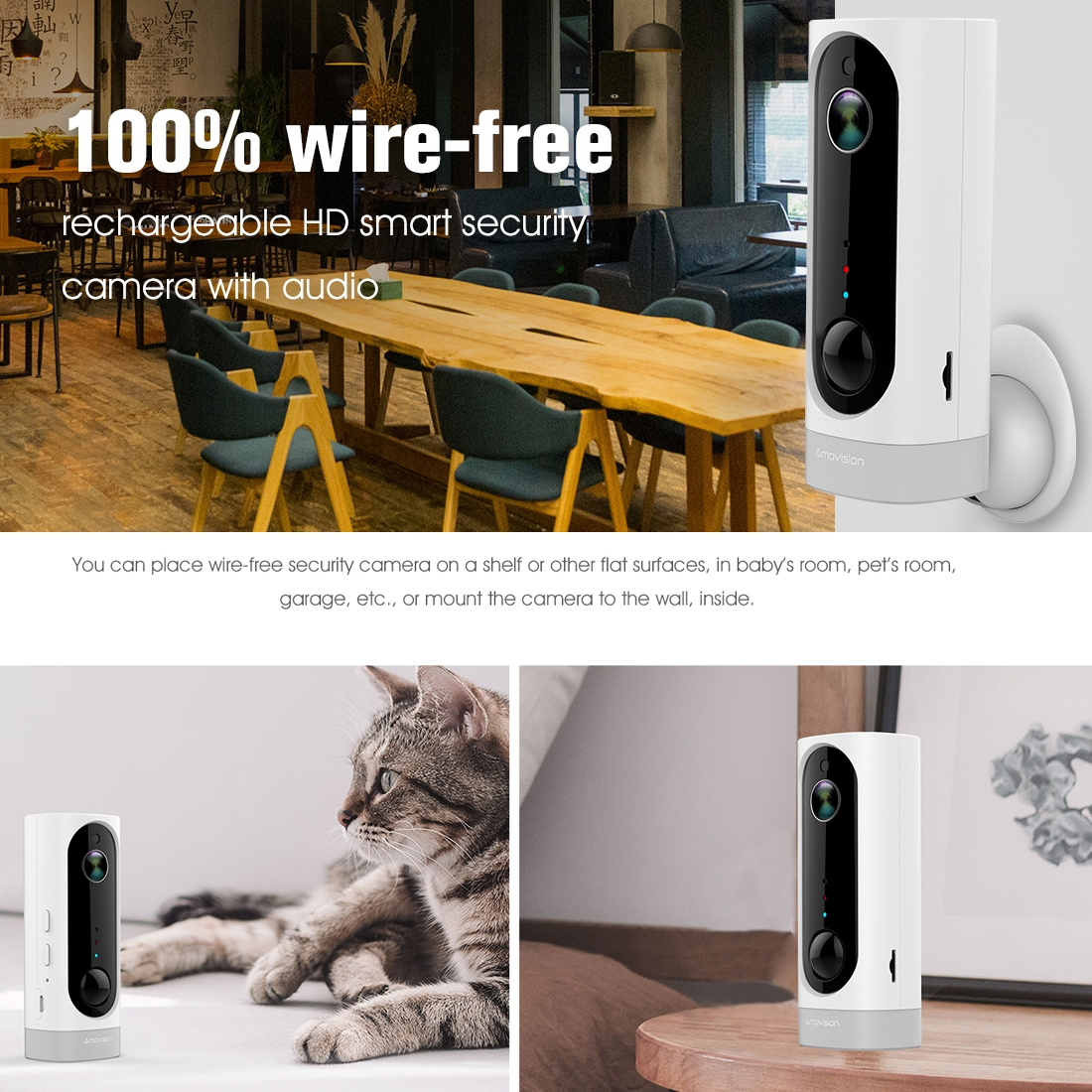 A1 WiFi Wireless 720P IP Camera, Support Night Vision / Motion Detection / PIR Motion Sensor, Two-way Audio, Built-in 3000mAh Rechargeable Battery