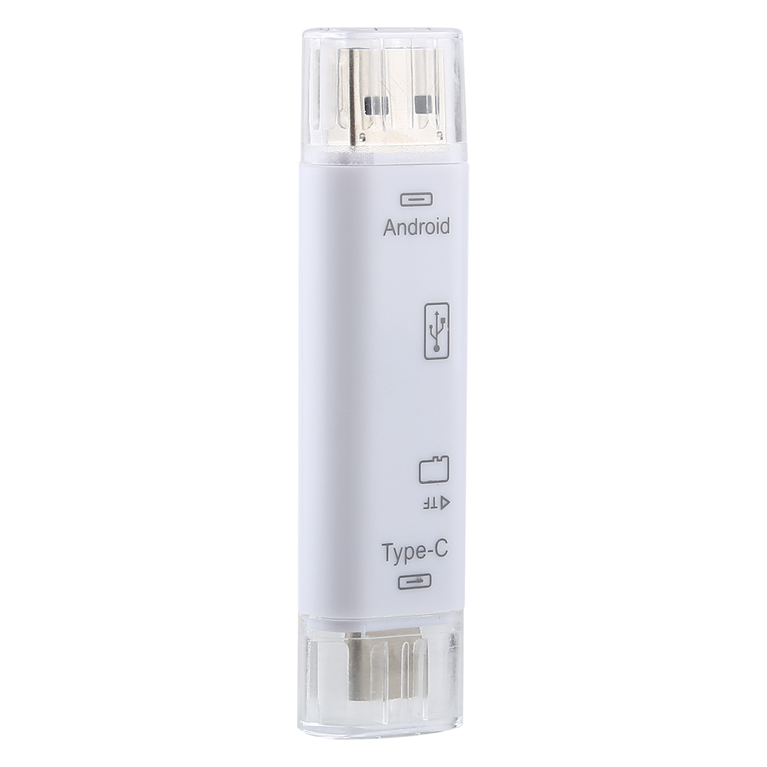 D-188 3 in 1 TF & USB to Micro USB & Type-C Card Reader OTG Adapter Connector (Silver)