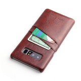 Fierre Shann Retro Oil Wax Texture PU Leather Case for Galaxy Note 8, with Card Slots (Brown)