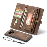 CaseMe-008 Detachable Multifunctional Horizontal Flip Leather Case for Galaxy Note9, with Card Slot & Holder & Zipper Wallet & Photo Frame (Coffee)