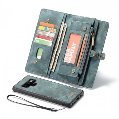 CaseMe-008 Detachable Multifunctional Horizontal Flip Leather Case for Galaxy Note9, with Card Slot & Holder & Zipper Wallet & Photo Frame (Blue)