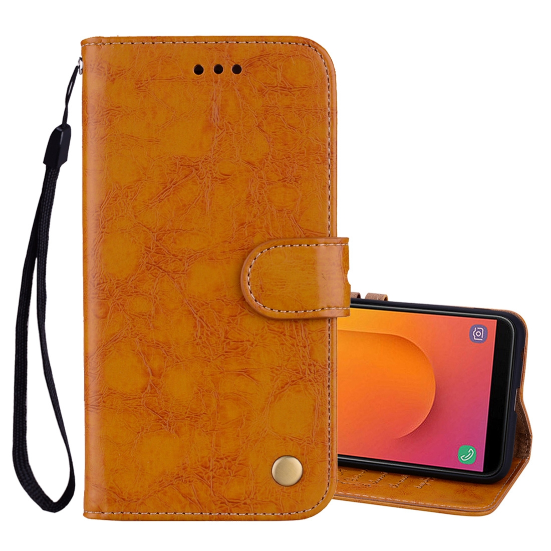 Business Style Oil Wax Texture Horizontal Flip Leather Case, with Holder & Card Slots & Wallet For Galaxy J8 (2018) (EU Version) (Brown)