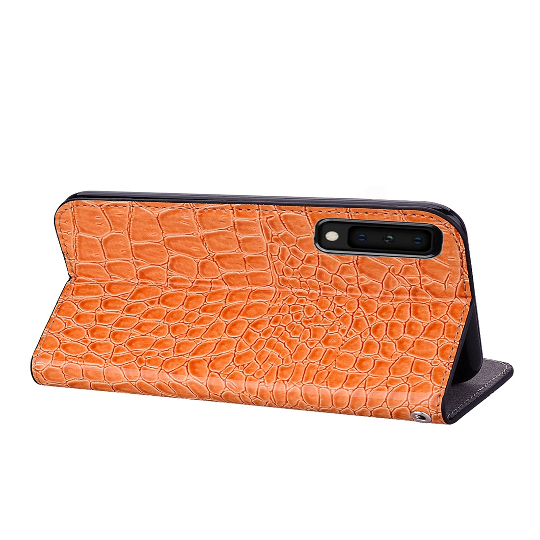 Crocodile Texture Glitter Powder Horizontal Flip Leather Case for Galaxy A7 (2018), with Card Slots & Holder (Orange)