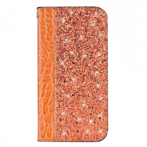 Crocodile Texture Glitter Powder Horizontal Flip Leather Case for Galaxy J4+, with Card Slots & Holder (Orange)