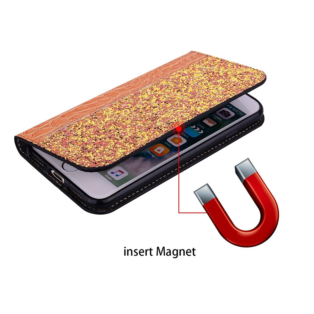 Crocodile Texture Glitter Powder Horizontal Flip Leather Case for Galaxy J4+, with Card Slots & Holder (Orange)