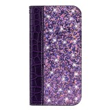 Crocodile Texture Glitter Powder Horizontal Flip Leather Case for Galaxy J4+, with Card Slots & Holder (Purple)