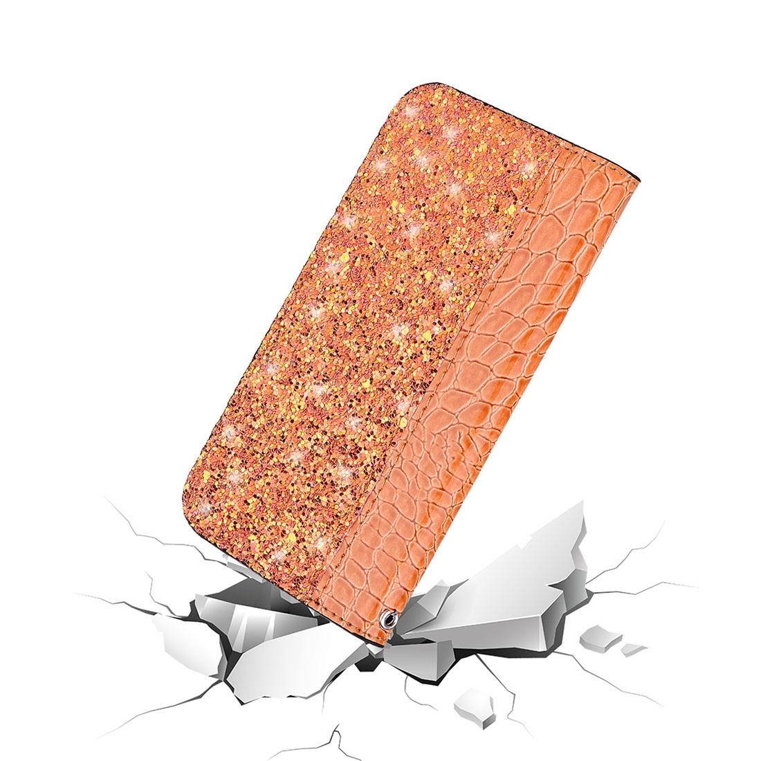 Crocodile Texture Glitter Powder Horizontal Flip Leather Case for Galaxy J6+, with Card Slots & Holder (Orange)