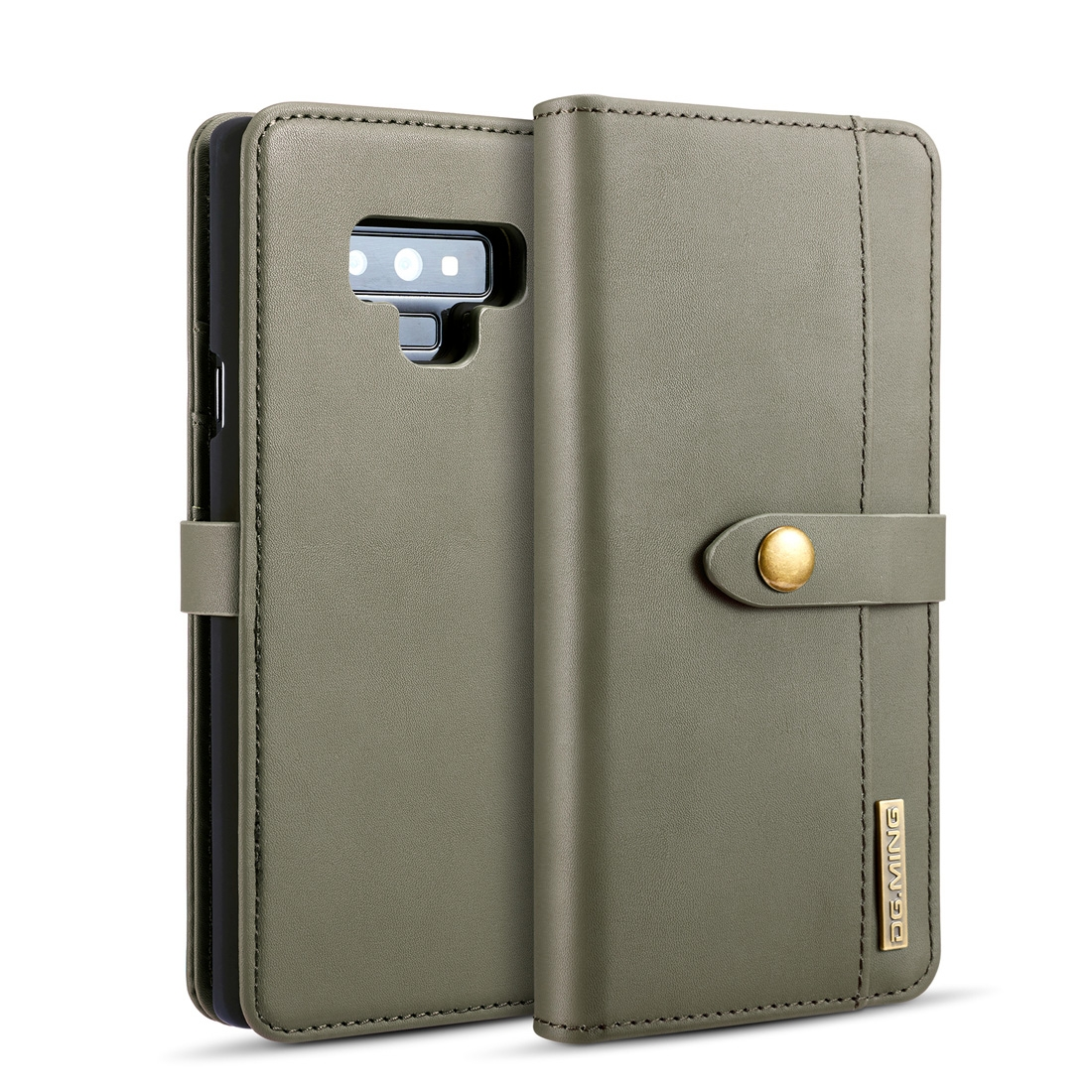 DG.MING Lambskin Detachable Horizontal Flip Magnetic Case for Galaxy Note9, with Holder & Card Slots & Wallet (Green)