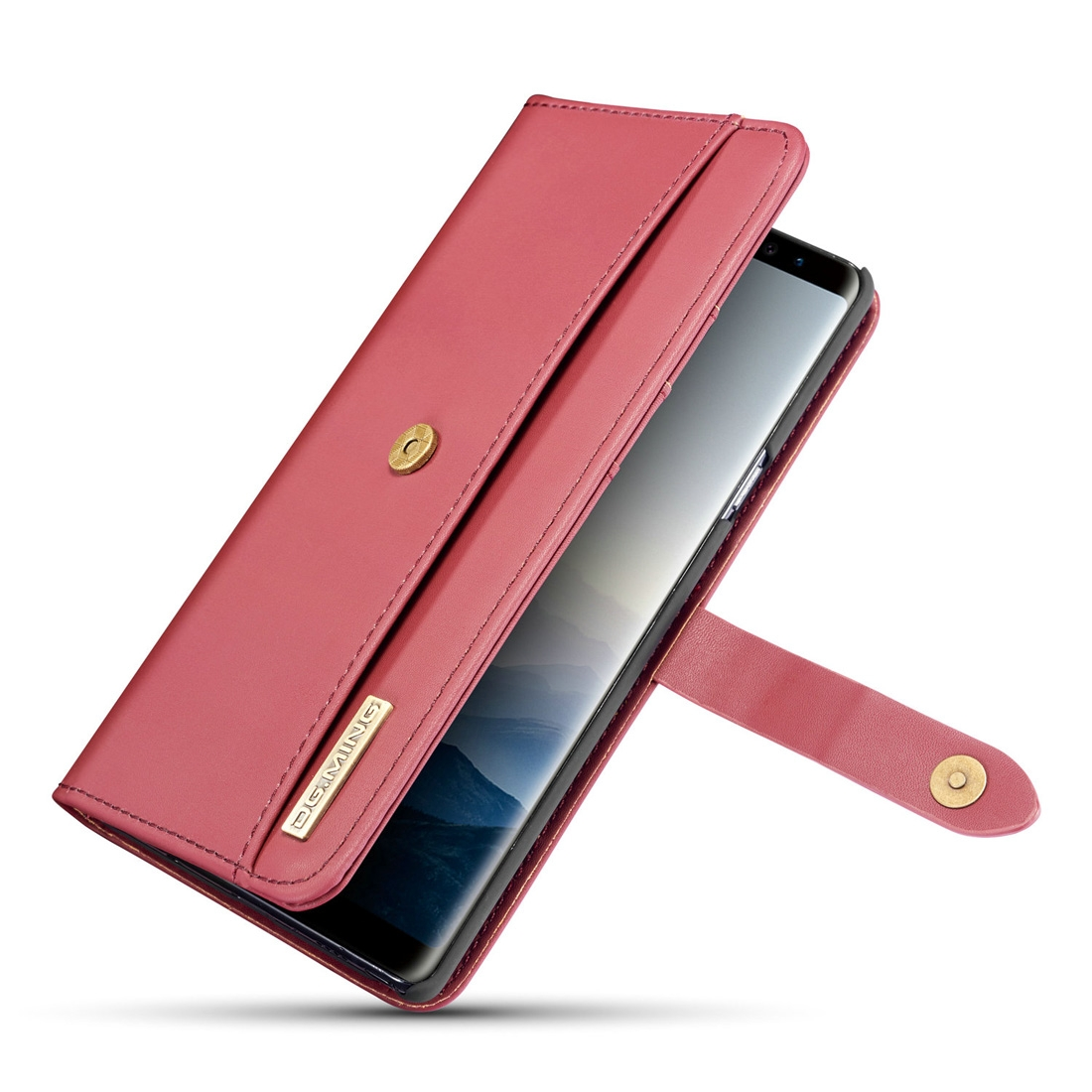 DG.MING Lambskin Detachable Horizontal Flip Magnetic Case for Galaxy Note9, with Holder & Card Slots & Wallet (Red)