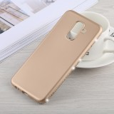 Crystal Decor Sides Smooth Surface Soft TPU Protective Back Case for Galaxy A6+ (2018) (Gold)