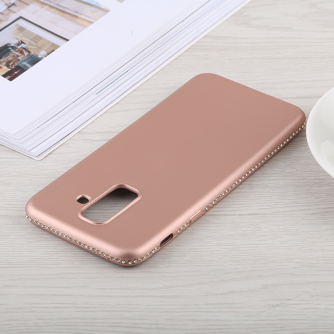Crystal Decor Sides Smooth Surface Soft TPU Protective Back Case for Galaxy A6+ (2018) (Rose Gold)