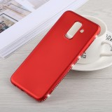 Crystal Decor Sides Smooth Surface Soft TPU Protective Back Case for Galaxy A6+ (2018) (Red)