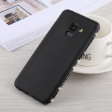 Crystal Decor Sides Smooth Surface Soft TPU Protective Back Case for Galaxy A8 (2018) (Black)