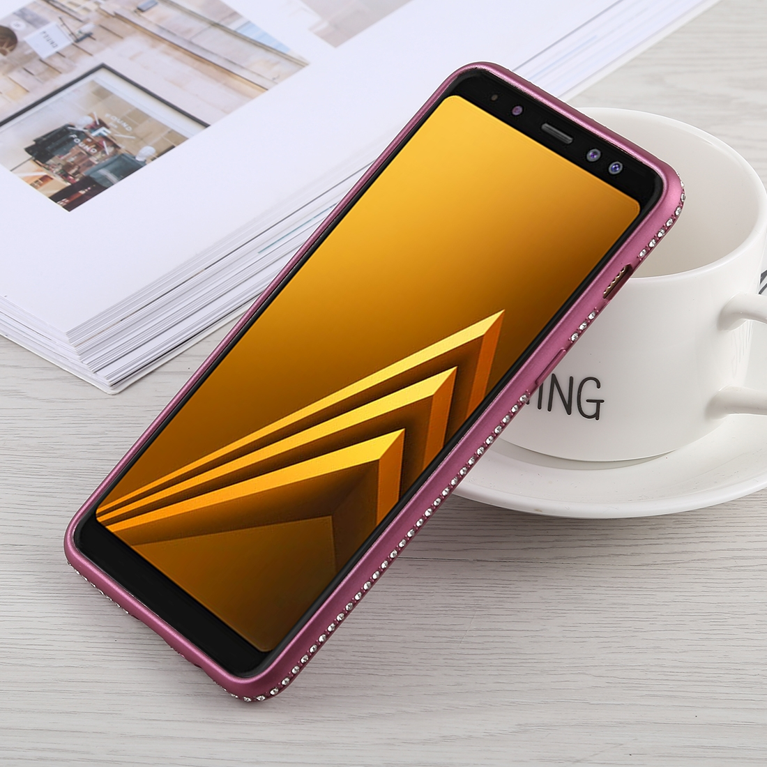 Crystal Decor Sides Smooth Surface Soft TPU Protective Back Case for Galaxy A8 (2018) (Purple)