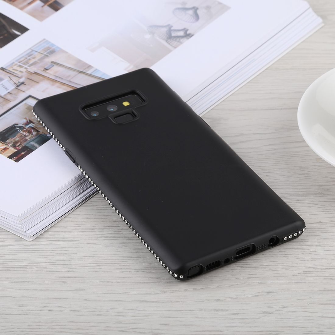 Crystal Decor Sides Smooth Surface Soft TPU Protective Back Case for Galaxy Note9 (Black)