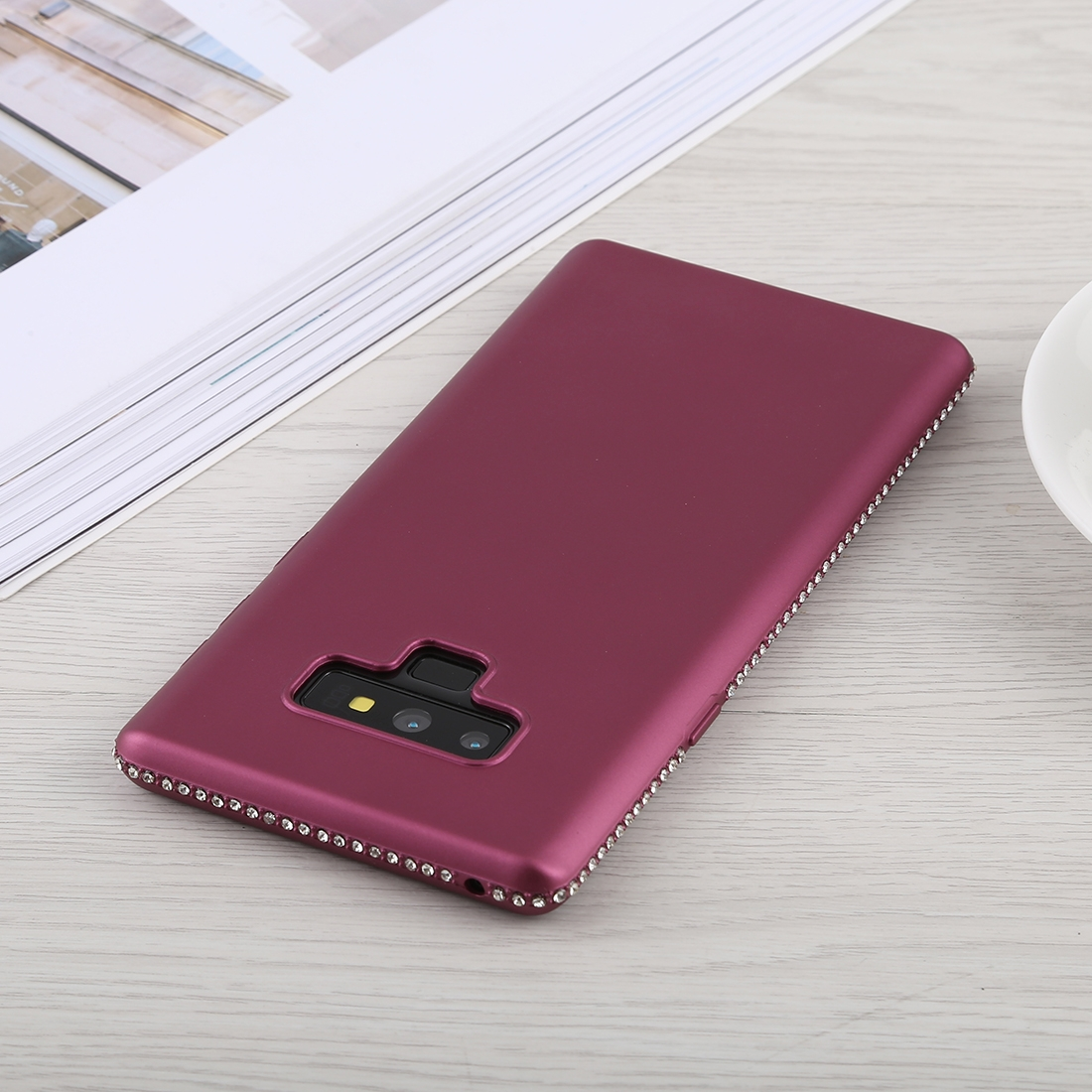 Crystal Decor Sides Smooth Surface Soft TPU Protective Back Case for Galaxy Note9 (Purple)