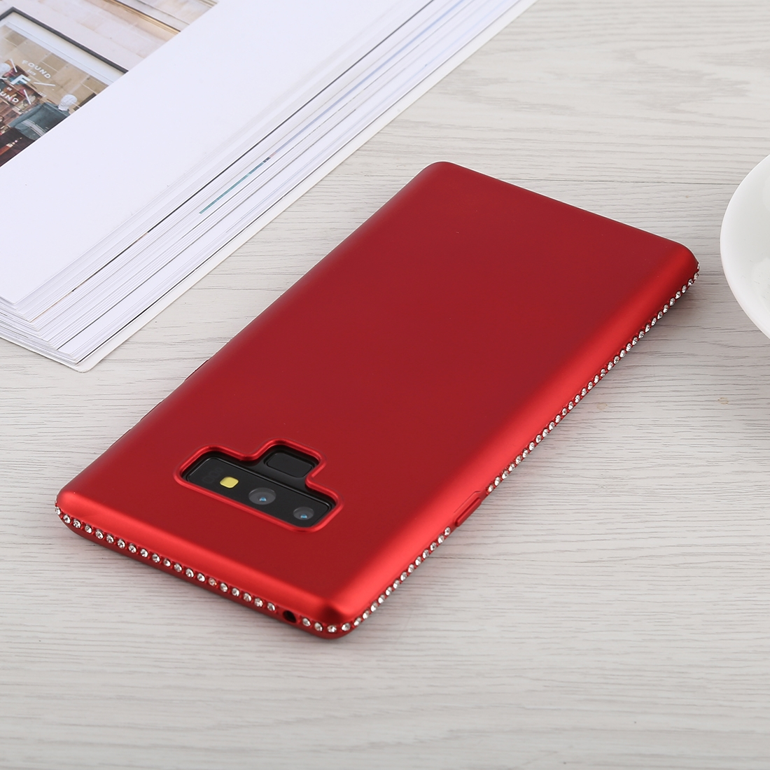 Crystal Decor Sides Smooth Surface Soft TPU Protective Back Case for Galaxy Note9 (Red)