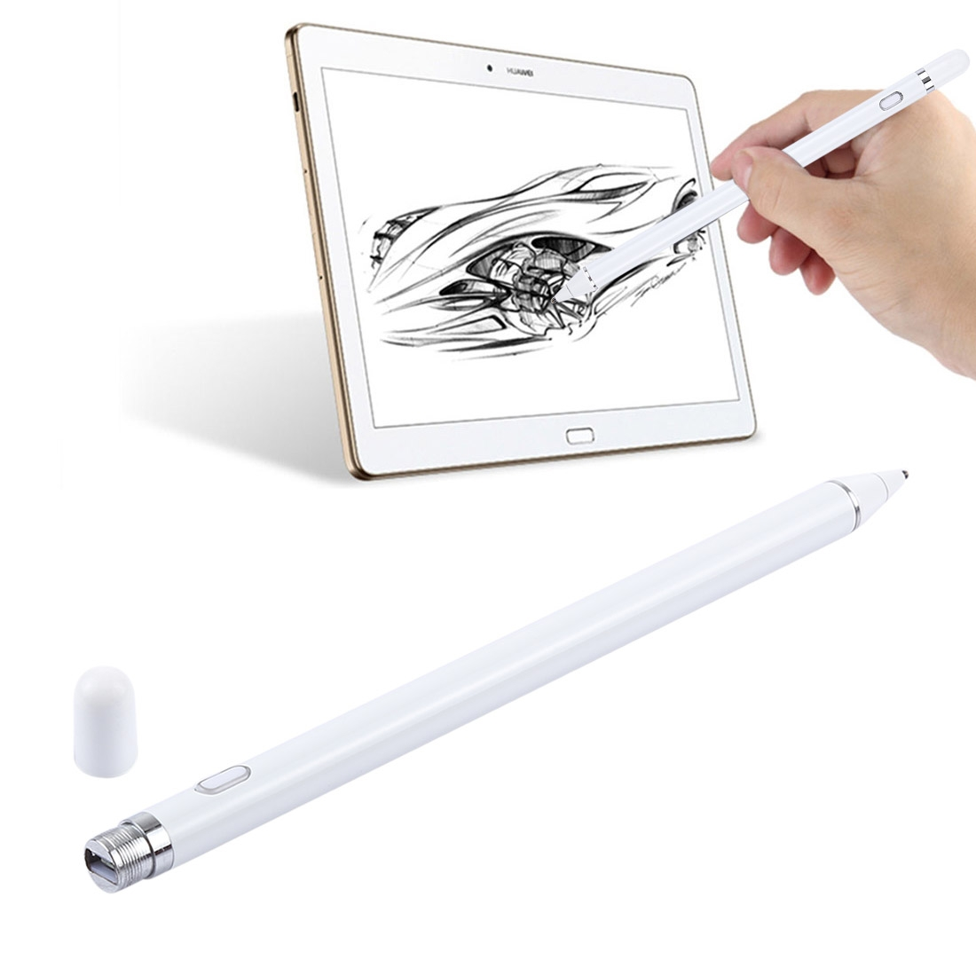 Long Universal Rechargeable Capacitive Touch Screen Stylus Pen with 2.3mm Superfine Metal Nib, For iPhone, iPad, Samsung, and Other Capacitive Touch Screen Smartphones or Tablet PC (White)