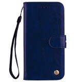 Business Style Oil Wax Texture Horizontal Flip Leather Case for Galaxy J4 (EU Version) (2018), with Holder & Card Slots & Wallet (Blue)