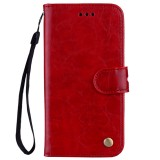 Business Style Oil Wax Texture Horizontal Flip Leather Case for Galaxy J4 (EU Version) (2018), with Holder & Card Slots & Wallet (Red)