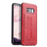 Fierre Shann Full Coverage Protective Leather Case for Galaxy S8, with Holder & Card Slot (Red)
