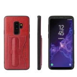 Fierre Shann Full Coverage Protective Leather Case for Galaxy S9, with Holder & Card Slot (Red)