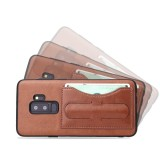 Fierre Shann Full Coverage Protective Leather Case for Galaxy S9, with Holder & Card Slot (Brown)