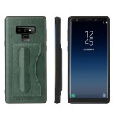 Fierre Shann Full Coverage Protective Leather Case for Galaxy Note9, with Holder & Card Slot (Green)