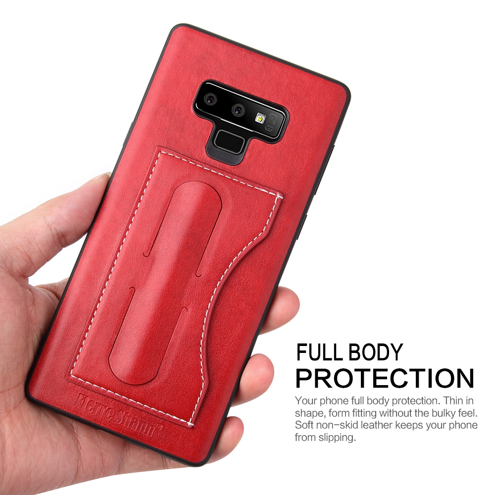 Fierre Shann Full Coverage Protective Leather Case for Galaxy Note9, with Holder & Card Slot (Red)
