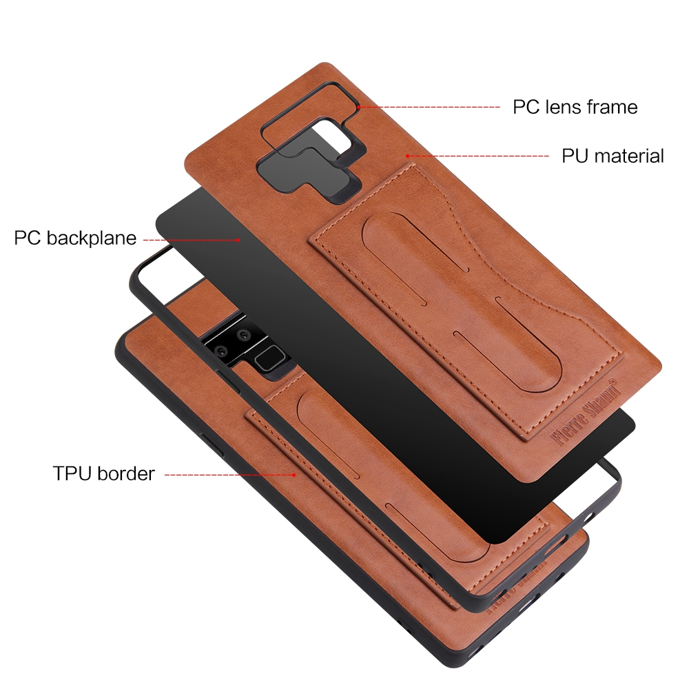 Fierre Shann Full Coverage Protective Leather Case for Galaxy Note9, with Holder & Card Slot (Brown)